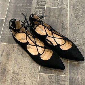 Black Lace-up Flats